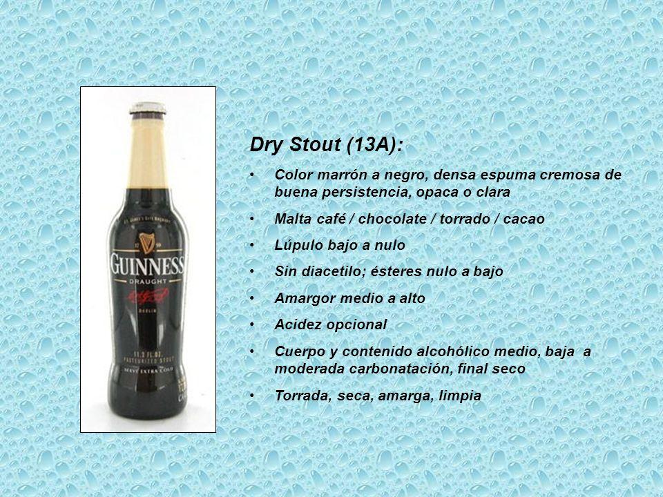 Dry Stout (13A): Color marrón a negro, densa espuma cremosa de buena persistencia, opaca o clara Malta café / chocolate / torrado / cacao Lúpulo bajo