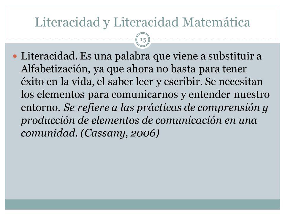 Literacidad y Literacidad Matemática Literacidad. Es una palabra que viene a substituir a Alfabetización, ya que ahora no basta para tener éxito en la