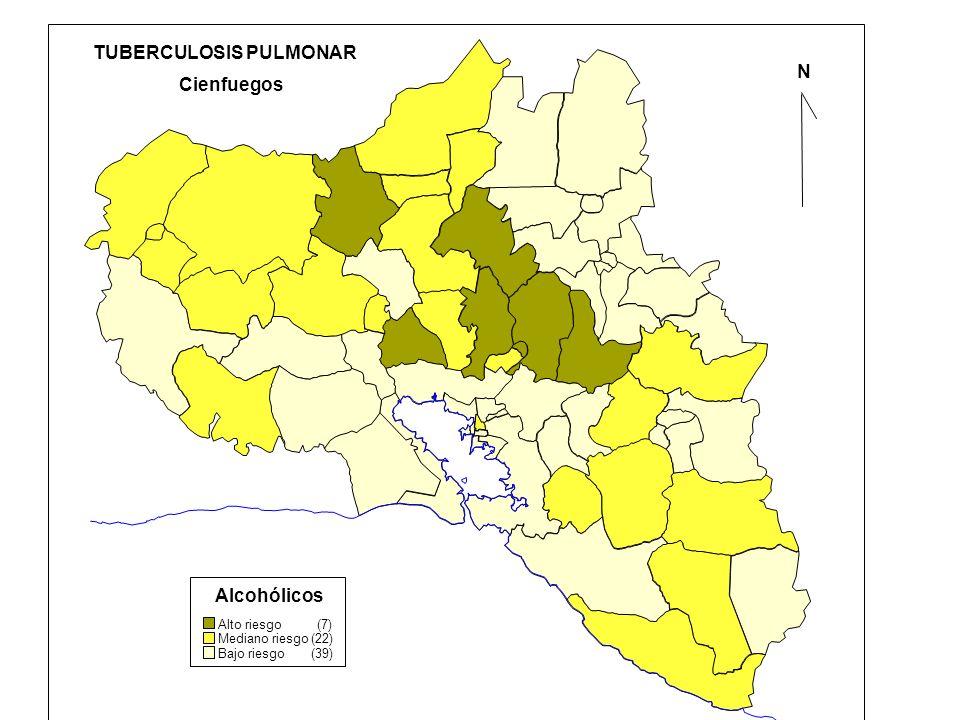 N Cienfuegos TUBERCULOSIS PULMONAR Alcohólicos Alto riesgo (7) Mediano riesgo (22) Bajo riesgo (39)