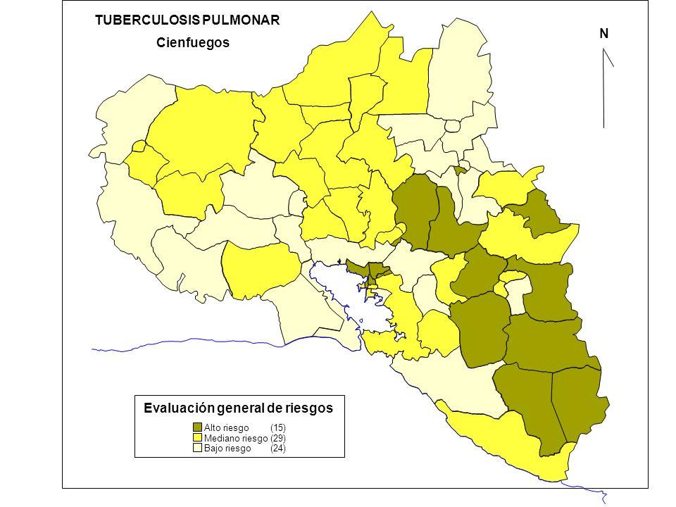 N Alto riesgo (15) Cienfuegos TUBERCULOSIS PULMONAR Evaluación general de riesgos Mediano riesgo (29) Bajo riesgo (24)