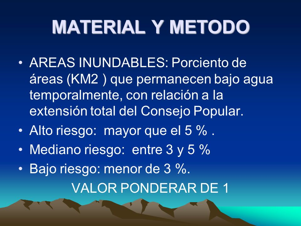MATERIAL Y METODO EVALUACION DE SUELOS: Porciento de áreas (KM2 ) dedicadas al cultivo del arroz con relación a la extensión total del Consejo Popular.