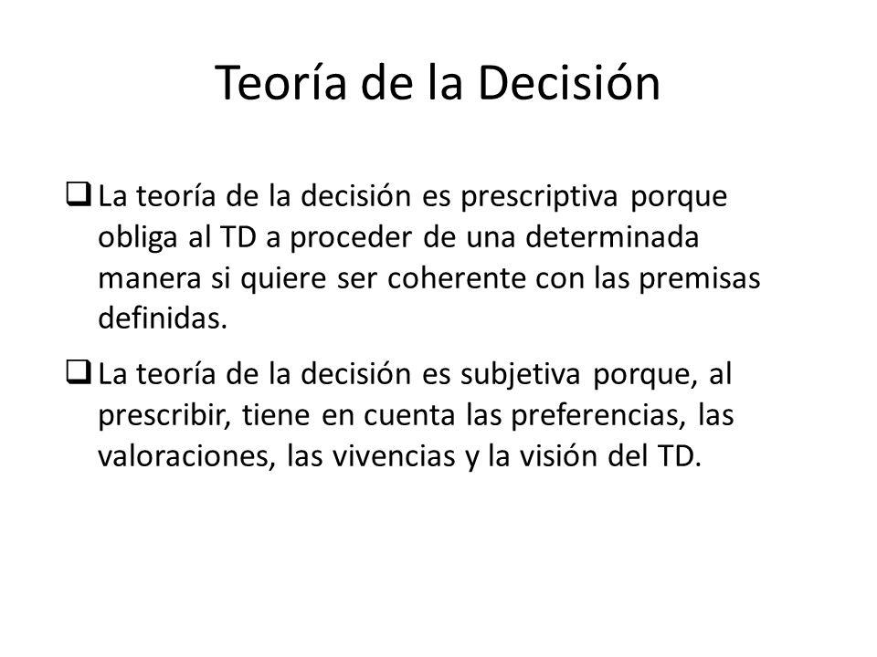 Teoría de la Decisión La teoría de la decisión es prescriptiva porque obliga al TD a proceder de una determinada manera si quiere ser coherente con la