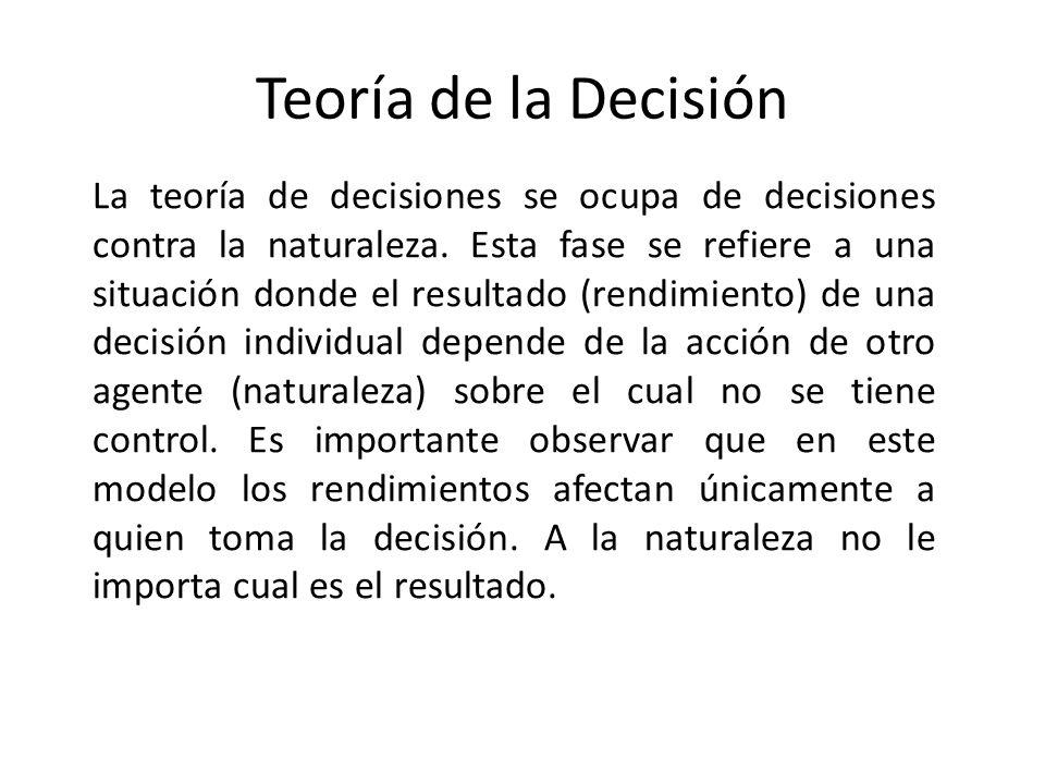 Teoría de la Decisión La teoría de decisiones se ocupa de decisiones contra la naturaleza. Esta fase se refiere a una situación donde el resultado (re