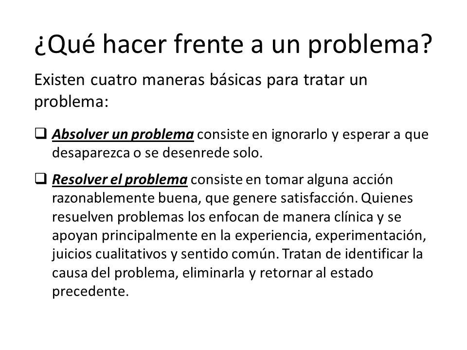 Absolver un problema consiste en ignorarlo y esperar a que desaparezca o se desenrede solo. Resolver el problema consiste en tomar alguna acción razon