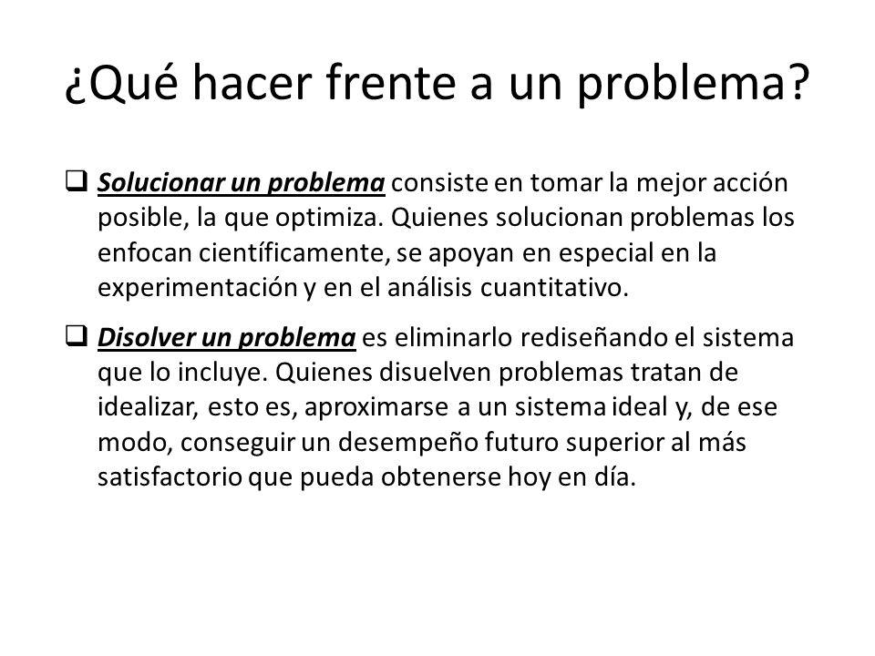¿Qué hacer frente a un problema? Solucionar un problema consiste en tomar la mejor acción posible, la que optimiza. Quienes solucionan problemas los e