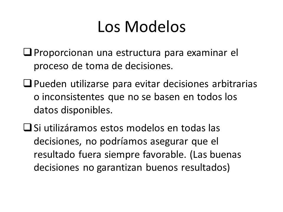Los Modelos Proporcionan una estructura para examinar el proceso de toma de decisiones. Pueden utilizarse para evitar decisiones arbitrarias o inconsi
