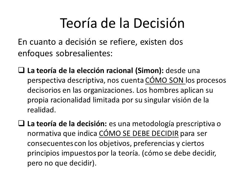 Teoría de la Decisión La teoría de la elección racional (Simon): desde una perspectiva descriptiva, nos cuenta CÓMO SON los procesos decisorios en las