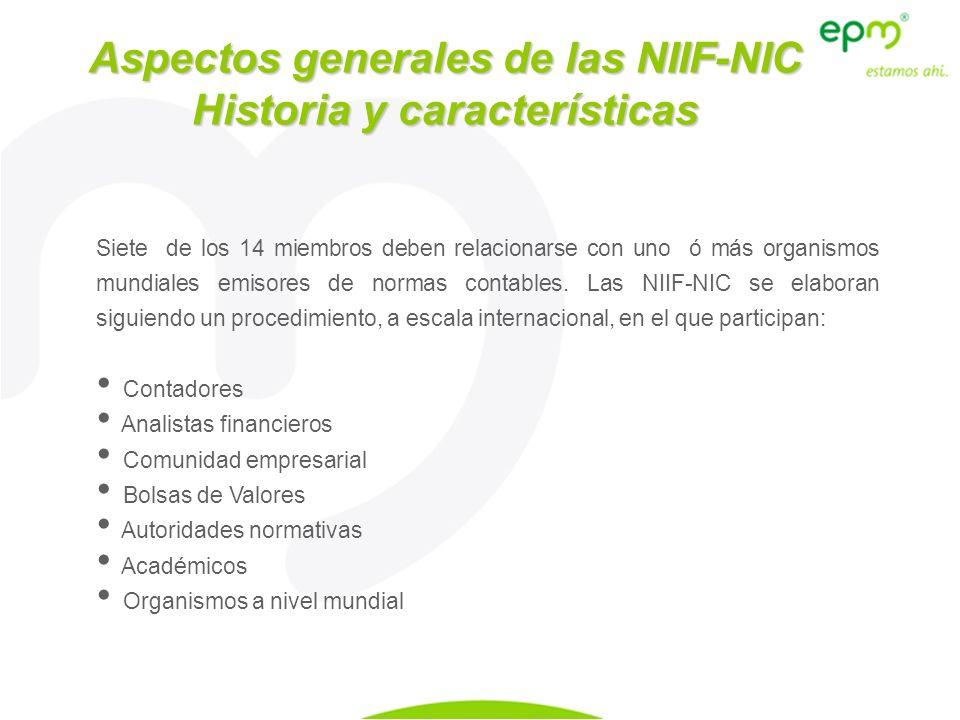 Siete de los 14 miembros deben relacionarse con uno ó más organismos mundiales emisores de normas contables. Las NIIF-NIC se elaboran siguiendo un pro