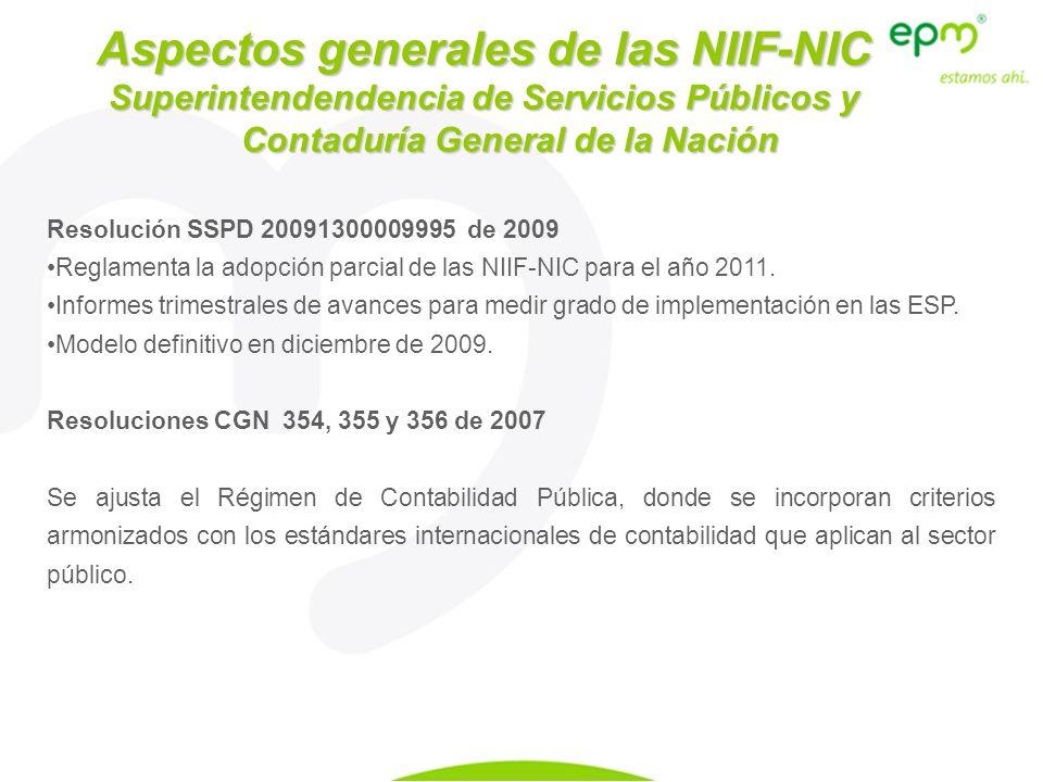Resolución SSPD 20091300009995 de 2009 Reglamenta la adopción parcial de las NIIF-NIC para el año 2011. Informes trimestrales de avances para medir gr