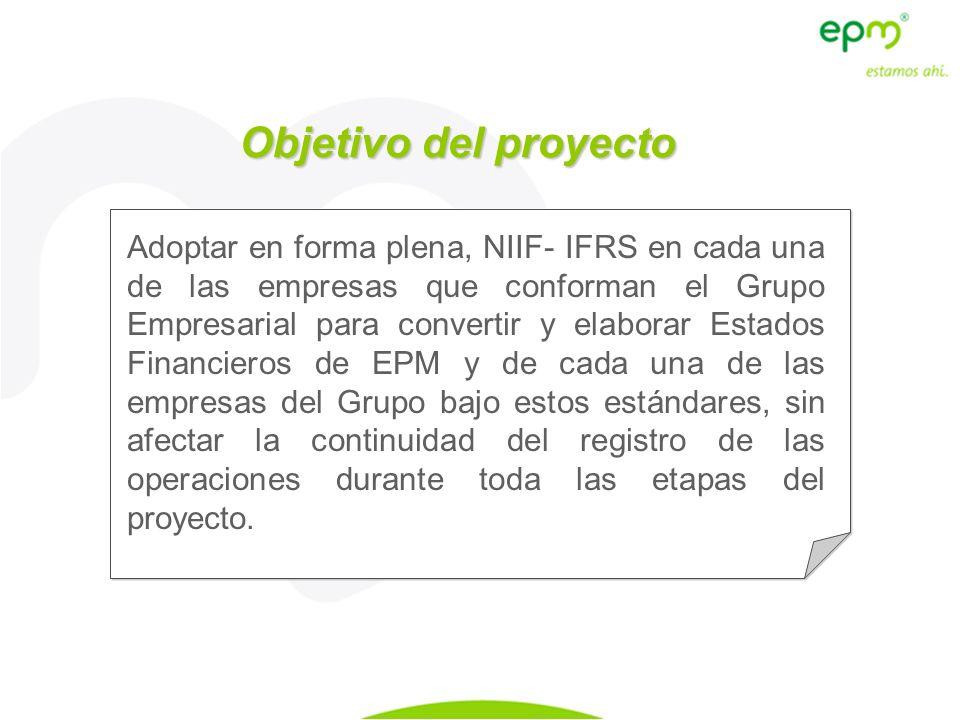 Objetivo del proyecto Adoptar en forma plena, NIIF- IFRS en cada una de las empresas que conforman el Grupo Empresarial para convertir y elaborar Esta