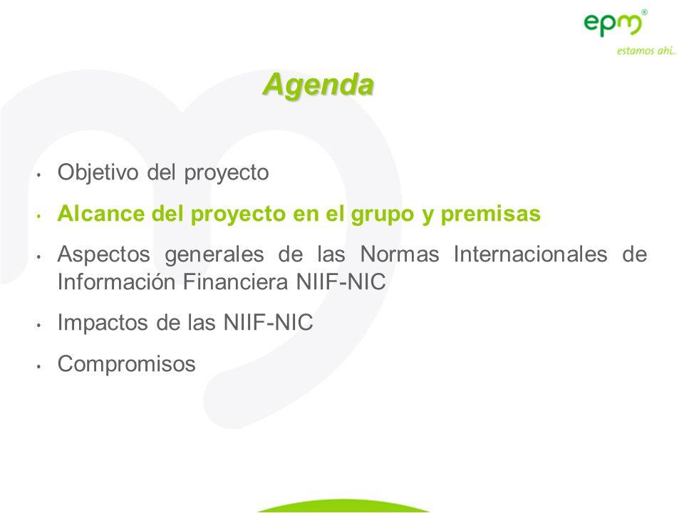 Alcance del proyecto en el Grupo El proyecto tiene alcance en 30 empresas que conforman el Grupo Empresarial según criterios NIIF (incluye 6 patrimonios autónomos), además de EPM matriz: Aguas Aguas Nacionales EPM, Aguas del Oriente Antioqueño, Regional de Occidente, Aguas de Urabá Energía EPM Inversiones, HET, CHEC, EDEQ, CENS, ESSA, CENCOL Telco EPM Telecomunicaciones, EPM Bogotá Telco., ETP, EMTELCO, EDATEL, Cinco Telecom Corporation, OCL, OSI, CENTRACOM Otros segmentos de negocio EEPPM RE, 6 Patrimonios autónomos y 2 en trámite Inversiones sin control Hidroeléctrica Pescadero Ituango, Colombia Móvil S.A.