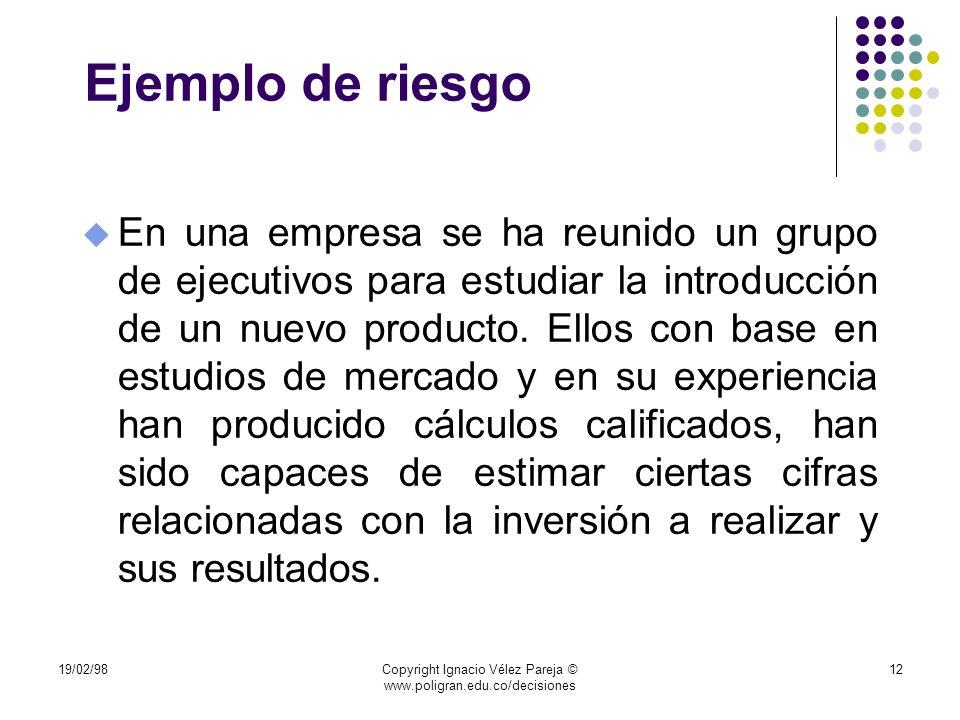 19/02/98Copyright Ignacio Vélez Pareja © www.poligran.edu.co/decisiones 12 Ejemplo de riesgo u En una empresa se ha reunido un grupo de ejecutivos par