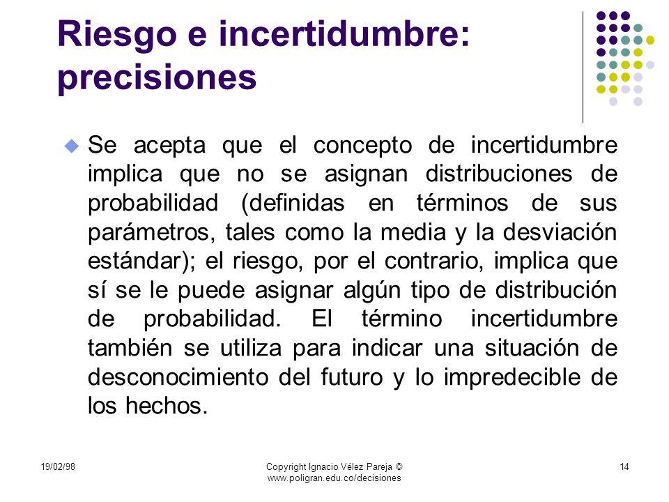 19/02/98Copyright Ignacio Vélez Pareja © www.poligran.edu.co/decisiones 14 Riesgo e incertidumbre: precisiones u Se acepta que el concepto de incertid