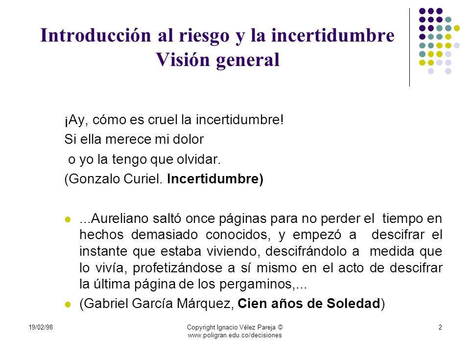 19/02/98Copyright Ignacio Vélez Pareja © www.poligran.edu.co/decisiones 53 Aversión al riesgo Si esa misma persona fuera totalmente aversa al riesgo y se enfrenta a la misma situación, pagará menos del valor esperado del juego por participar en él.