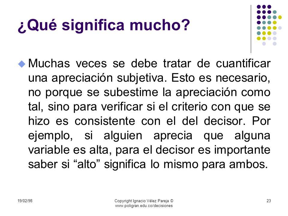 19/02/98Copyright Ignacio Vélez Pareja © www.poligran.edu.co/decisiones 23 ¿Qué significa mucho? u Muchas veces se debe tratar de cuantificar una apre