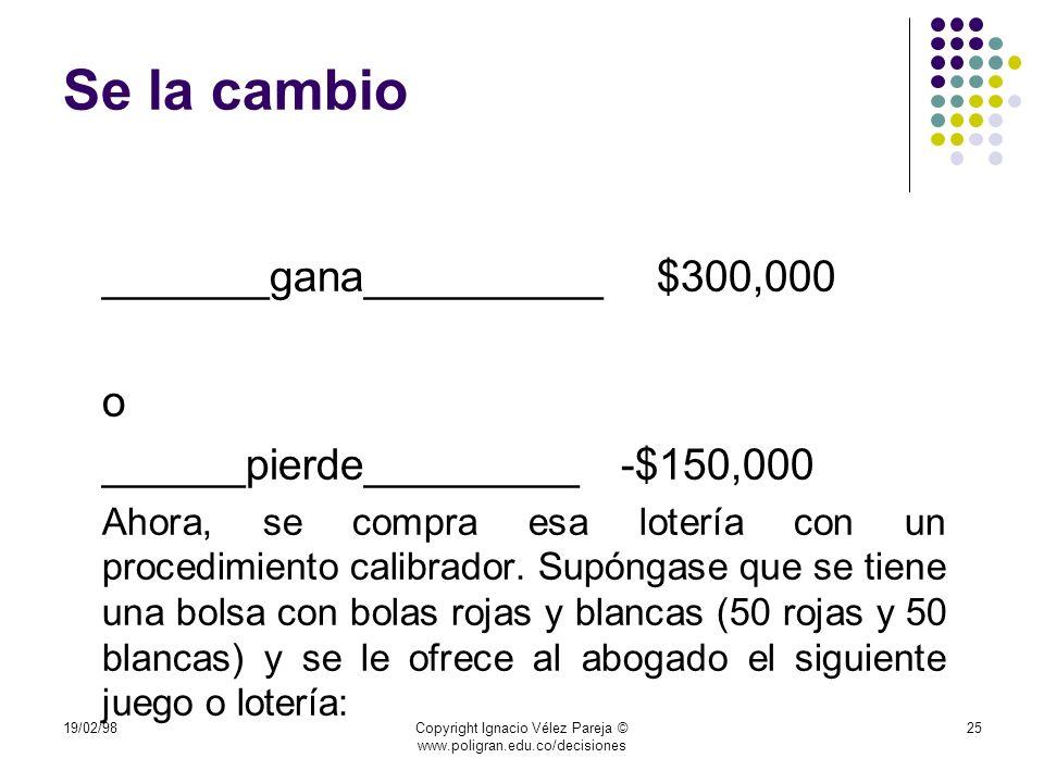 19/02/98Copyright Ignacio Vélez Pareja © www.poligran.edu.co/decisiones 25 Se la cambio _______gana__________ $300,000 o ______pierde_________ -$150,0