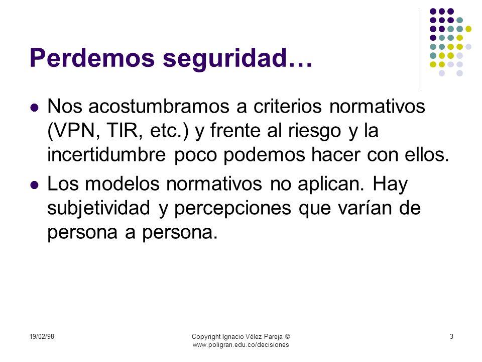 19/02/98Copyright Ignacio Vélez Pareja © www.poligran.edu.co/decisiones 14 Riesgo e incertidumbre: precisiones u Se acepta que el concepto de incertidumbre implica que no se asignan distribuciones de probabilidad (definidas en términos de sus parámetros, tales como la media y la desviación estándar); el riesgo, por el contrario, implica que sí se le puede asignar algún tipo de distribución de probabilidad.