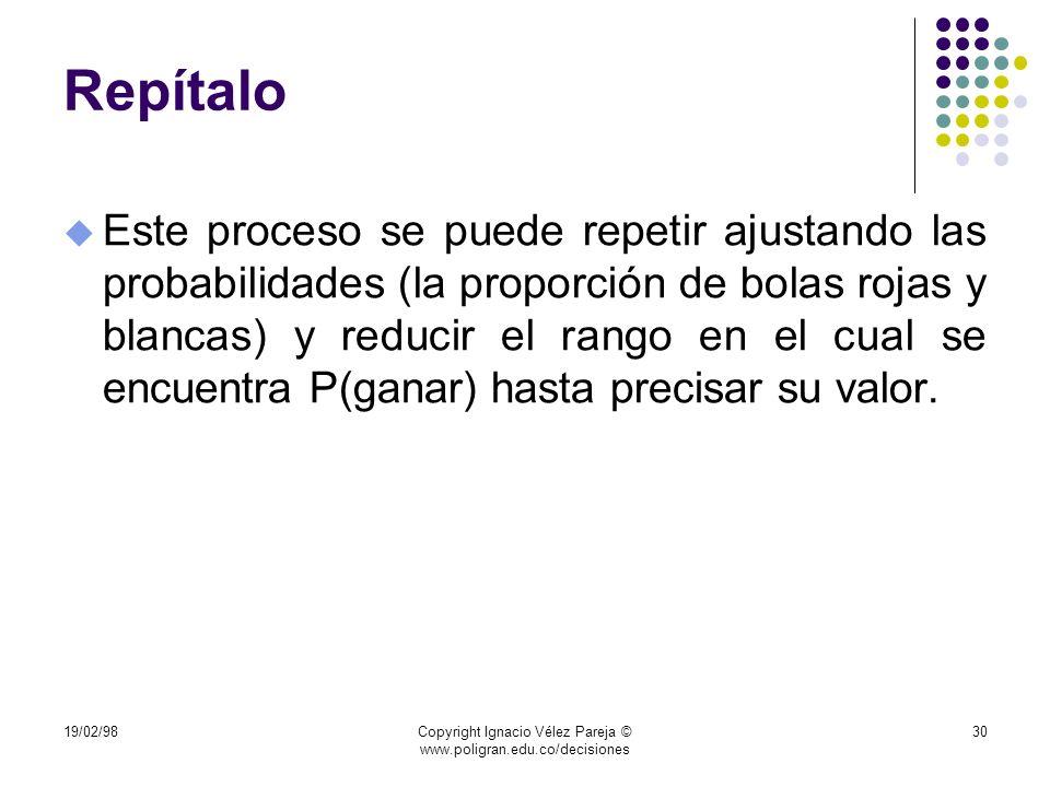 19/02/98Copyright Ignacio Vélez Pareja © www.poligran.edu.co/decisiones 30 Repítalo u Este proceso se puede repetir ajustando las probabilidades (la p