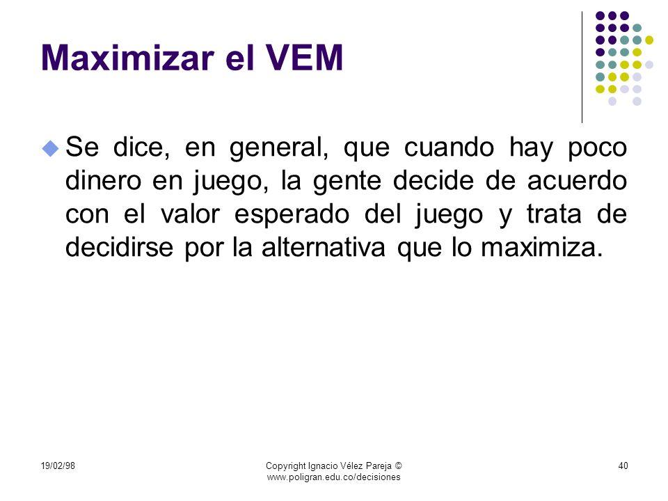 19/02/98Copyright Ignacio Vélez Pareja © www.poligran.edu.co/decisiones 40 Maximizar el VEM u Se dice, en general, que cuando hay poco dinero en juego