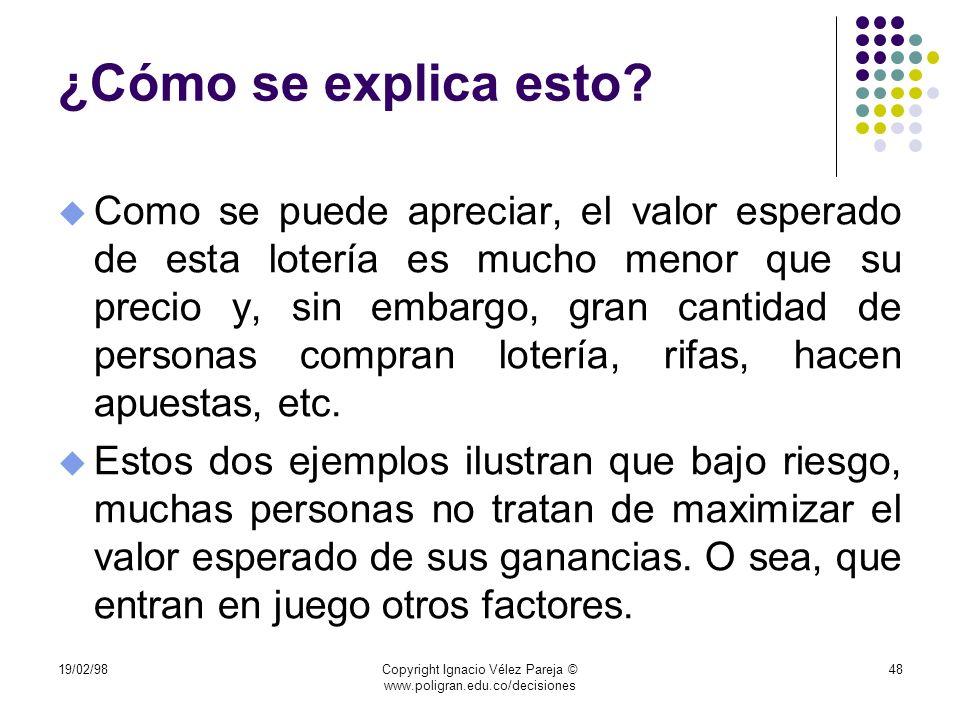 19/02/98Copyright Ignacio Vélez Pareja © www.poligran.edu.co/decisiones 48 ¿Cómo se explica esto? u Como se puede apreciar, el valor esperado de esta