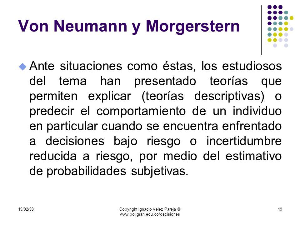 19/02/98Copyright Ignacio Vélez Pareja © www.poligran.edu.co/decisiones 49 Von Neumann y Morgerstern u Ante situaciones como éstas, los estudiosos del