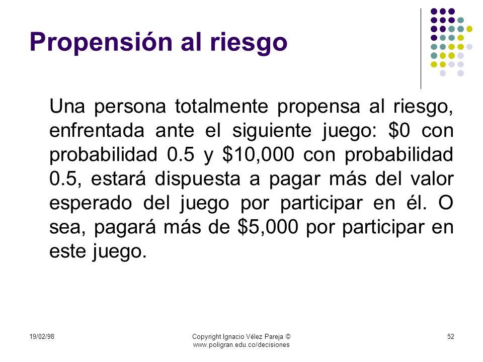 19/02/98Copyright Ignacio Vélez Pareja © www.poligran.edu.co/decisiones 52 Propensión al riesgo Una persona totalmente propensa al riesgo, enfrentada