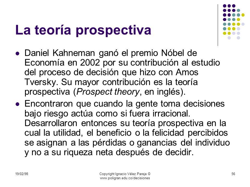 19/02/98Copyright Ignacio Vélez Pareja © www.poligran.edu.co/decisiones 56 La teoría prospectiva Daniel Kahneman ganó el premio Nóbel de Economía en 2