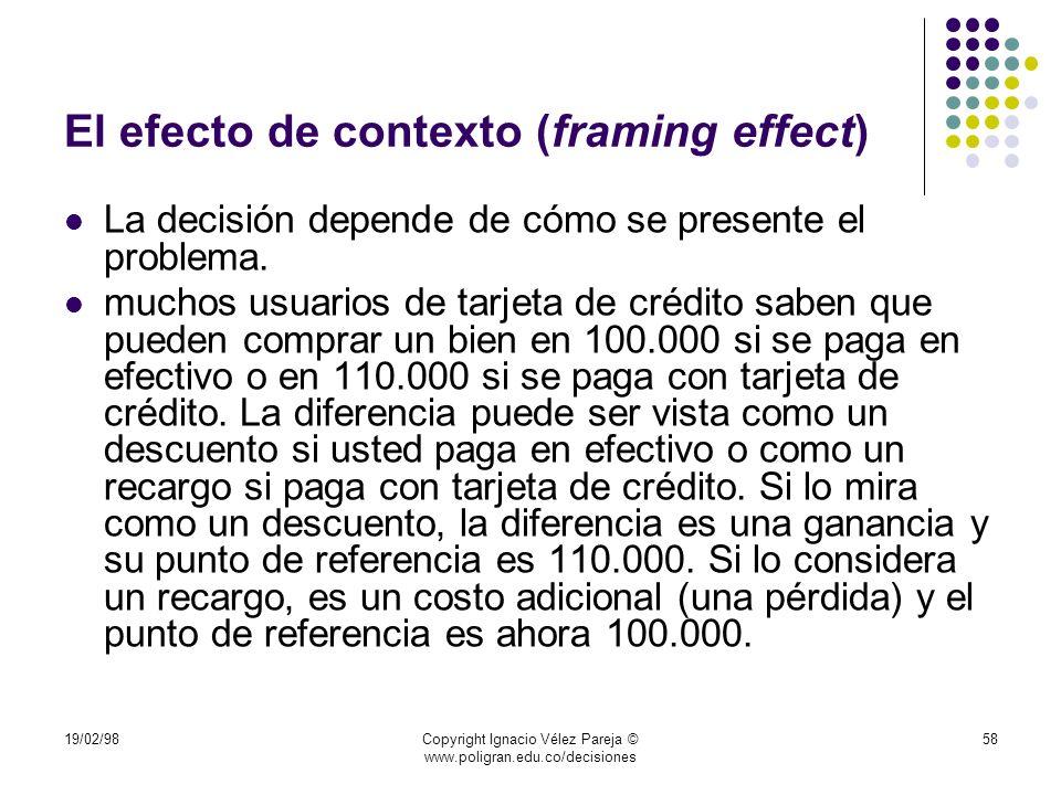 19/02/98Copyright Ignacio Vélez Pareja © www.poligran.edu.co/decisiones 58 El efecto de contexto (framing effect) La decisión depende de cómo se prese