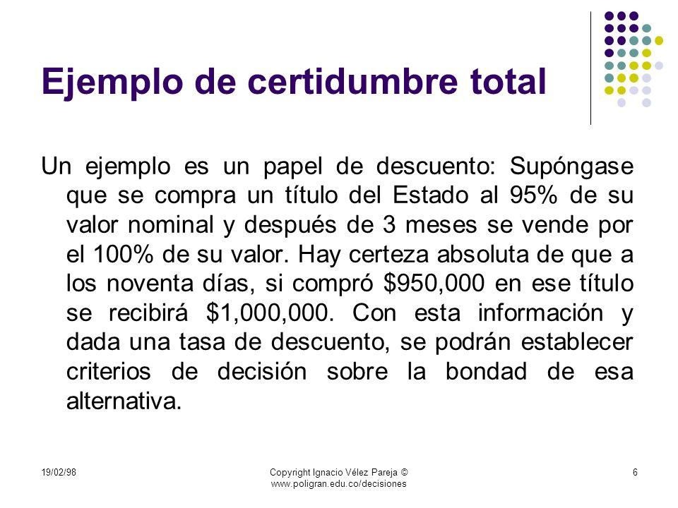 19/02/98Copyright Ignacio Vélez Pareja © www.poligran.edu.co/decisiones 47 Tabla de premios (millones) CantidadTipo de premio Valor del premio Probabilidad Valor esperado 1mayor10000,0000667%0,000666667 $ 666,67 2secos500,0000667%6,66667E-05 $ 66,67 2secos200,0000667%2,66667E-05 $ 26,67 100secos20,0000667%0,000133333 $ 133,33 149Secos0,50,0099333%4,96667E-05 $ 49,67 Valor esperado total $ 943,00