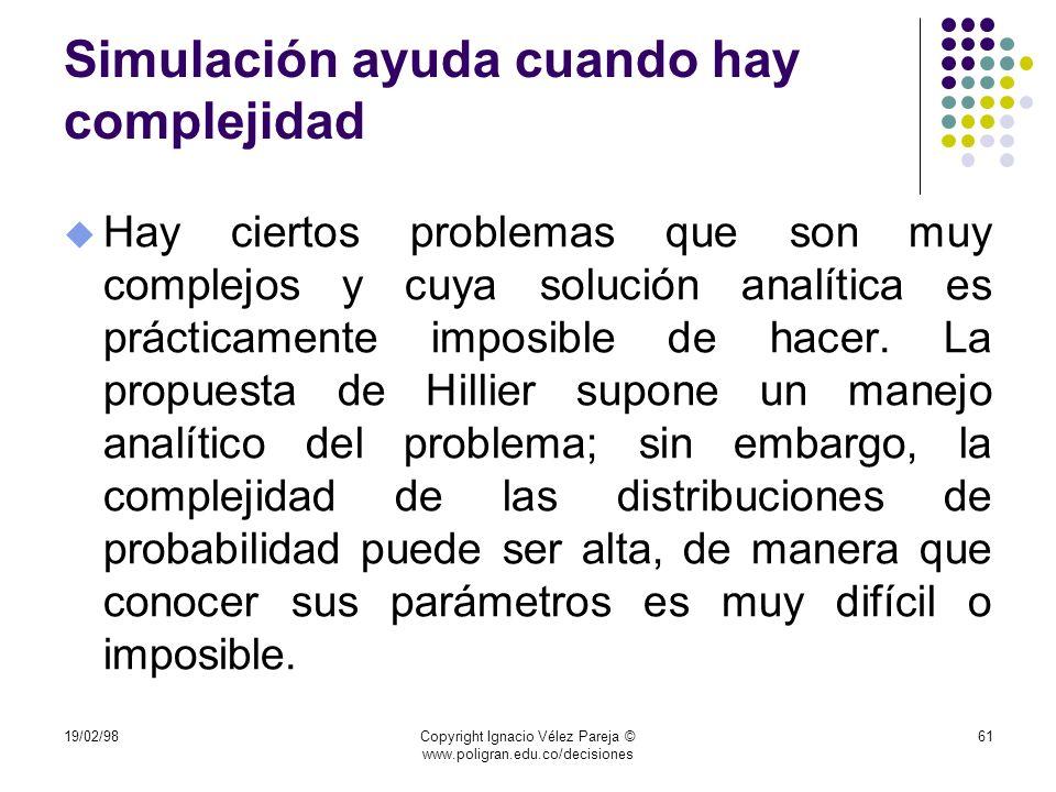 19/02/98Copyright Ignacio Vélez Pareja © www.poligran.edu.co/decisiones 61 Simulación ayuda cuando hay complejidad u Hay ciertos problemas que son muy