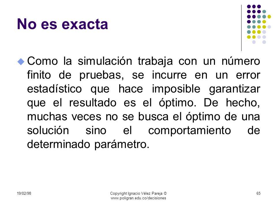 19/02/98Copyright Ignacio Vélez Pareja © www.poligran.edu.co/decisiones 65 No es exacta u Como la simulación trabaja con un número finito de pruebas,