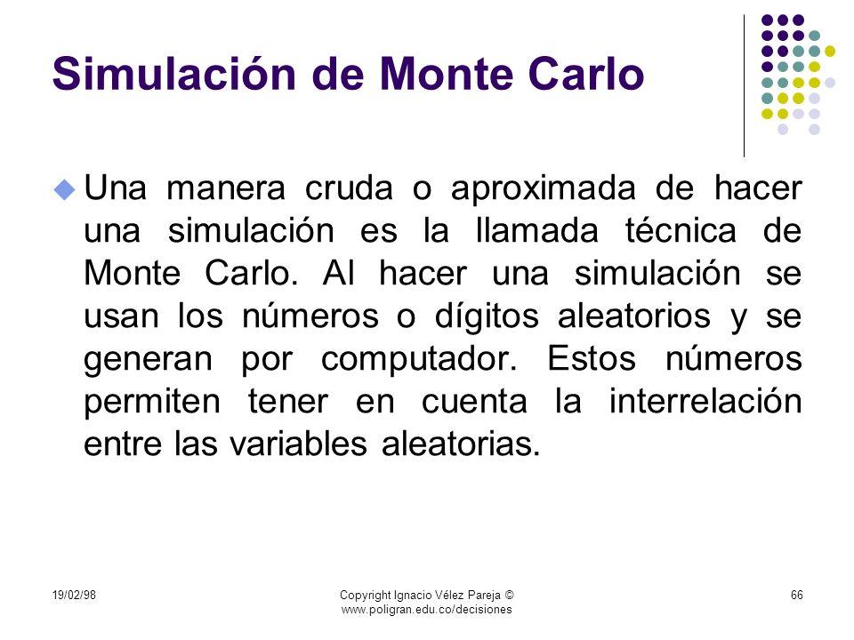 19/02/98Copyright Ignacio Vélez Pareja © www.poligran.edu.co/decisiones 66 Simulación de Monte Carlo u Una manera cruda o aproximada de hacer una simu