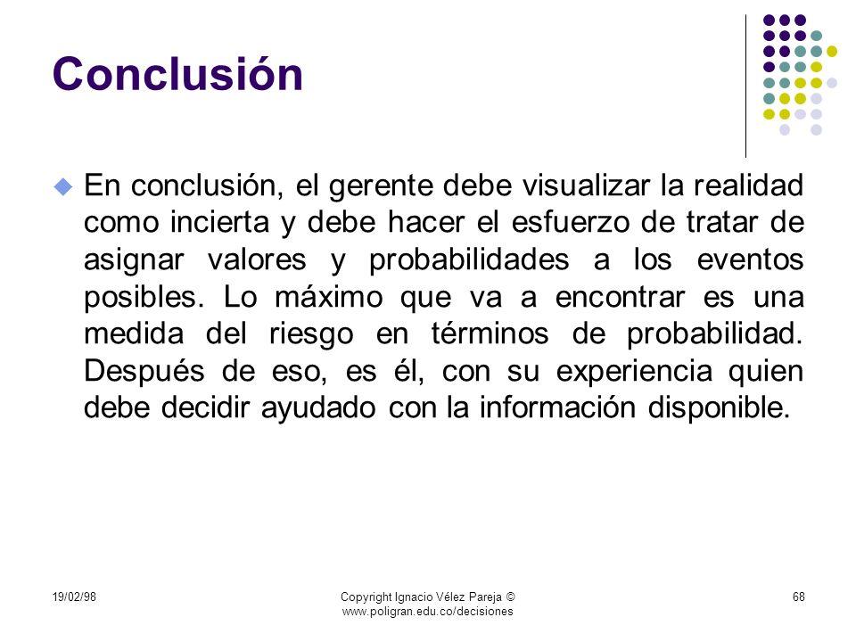 19/02/98Copyright Ignacio Vélez Pareja © www.poligran.edu.co/decisiones 68 Conclusión u En conclusión, el gerente debe visualizar la realidad como inc