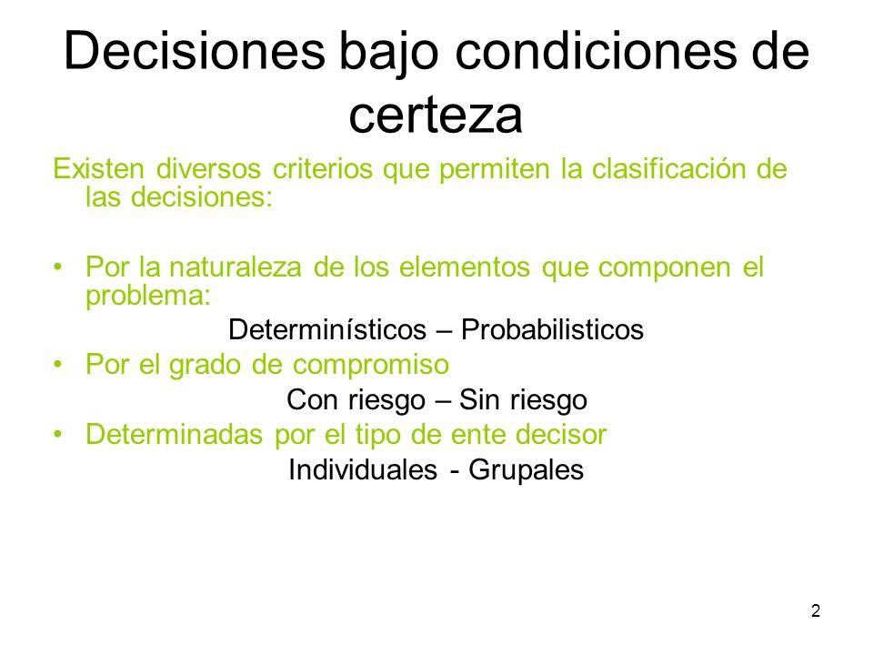 2 Decisiones bajo condiciones de certeza Existen diversos criterios que permiten la clasificación de las decisiones: Por la naturaleza de los elemento
