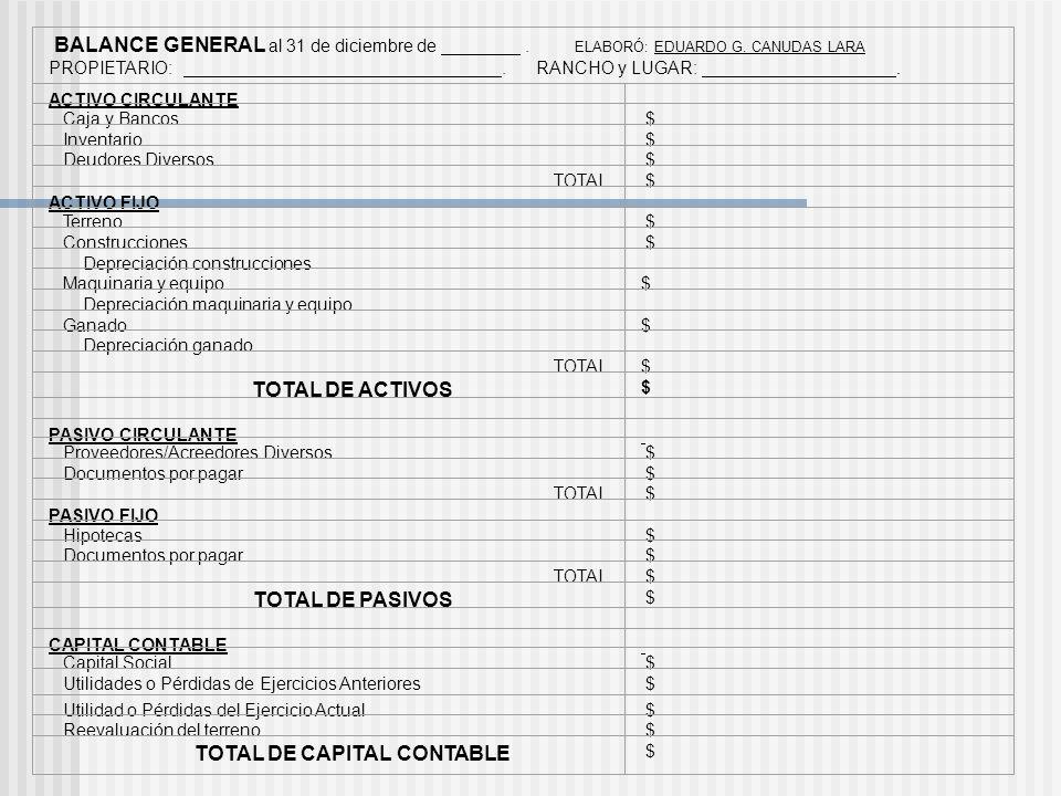 BALANCE GENERAL Reporte estático que representa todo lo que la empresa TIENE Y DEBE en un momento dado. ACTIVO = PASIVO + CAPITAL Se clasifica en: ACT