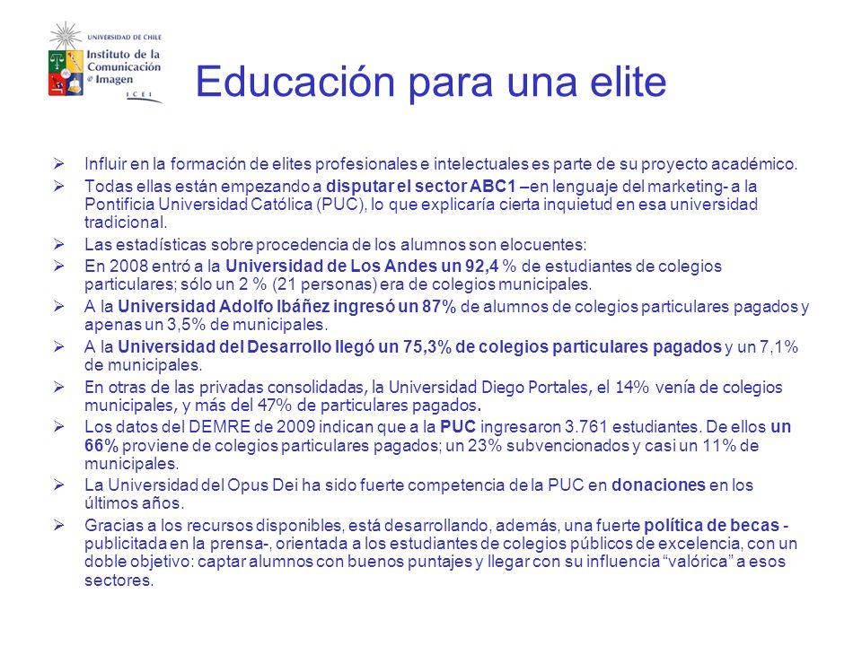 Educación para una elite Influir en la formación de elites profesionales e intelectuales es parte de su proyecto académico.