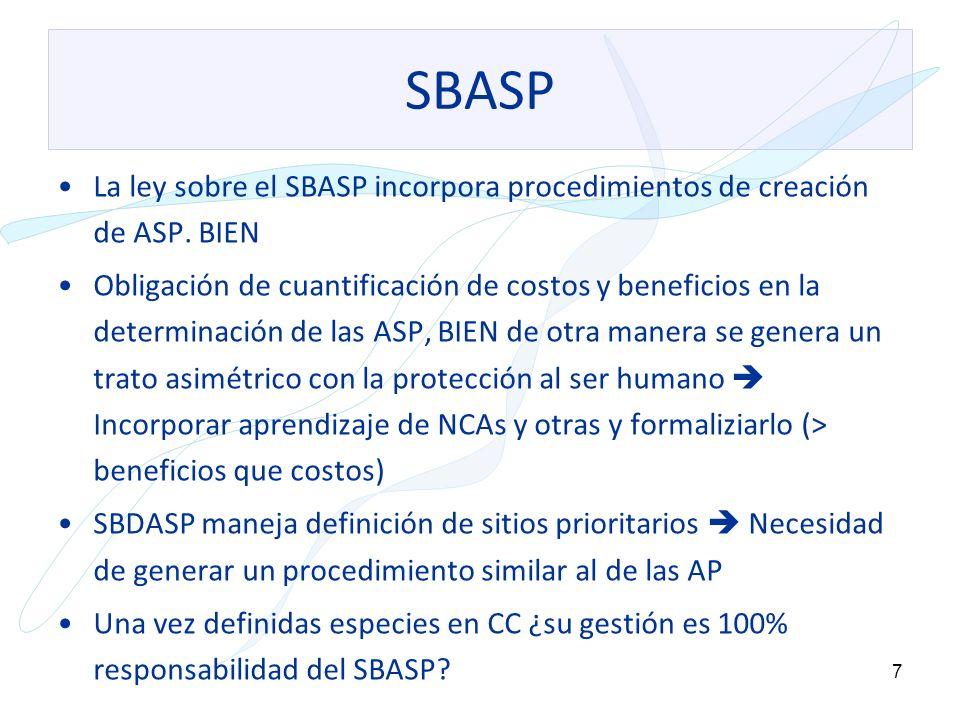 8 SBASP Plazo de 2+1 año para traspasar Sitios Prioritarios a AP es muy corto La recalificación de las áreas existentes ¿pasa por el procedimiento de la ley.
