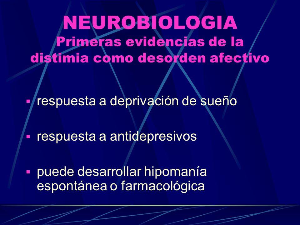 NEUROBIOLOGIA Primeras evidencias de la distimia como desorden afectivo respuesta a deprivación de sueño respuesta a antidepresivos puede desarrollar hipomanía espontánea o farmacológica