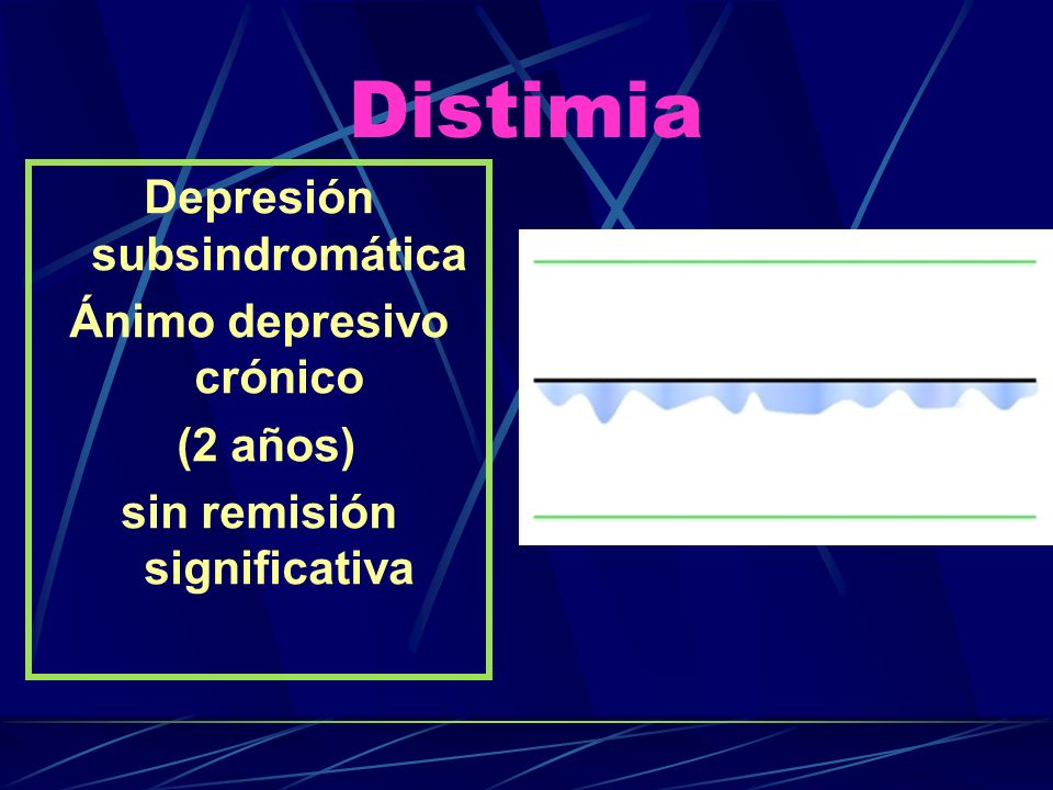 Distimia Depresión subsindromática Ánimo depresivo crónico (2 años) sin remisión significativa