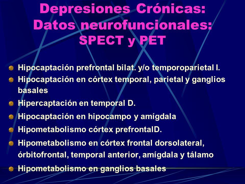 Depresiones Crónicas: Datos neurofuncionales: SPECT y PET Hipocaptación prefrontal bilat.