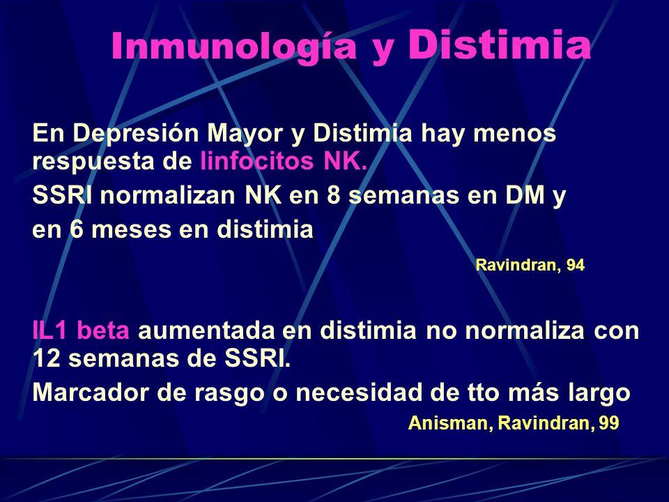 Inmunología y Distimia En Depresión Mayor y Distimia hay menos respuesta de linfocitos NK.