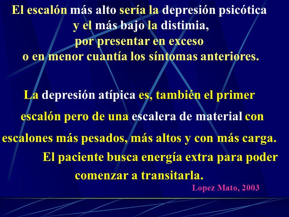 El escalón más alto sería la depresión psicótica y el más bajo la distimia, por presentar en exceso o en menor cuantía los síntomas anteriores.