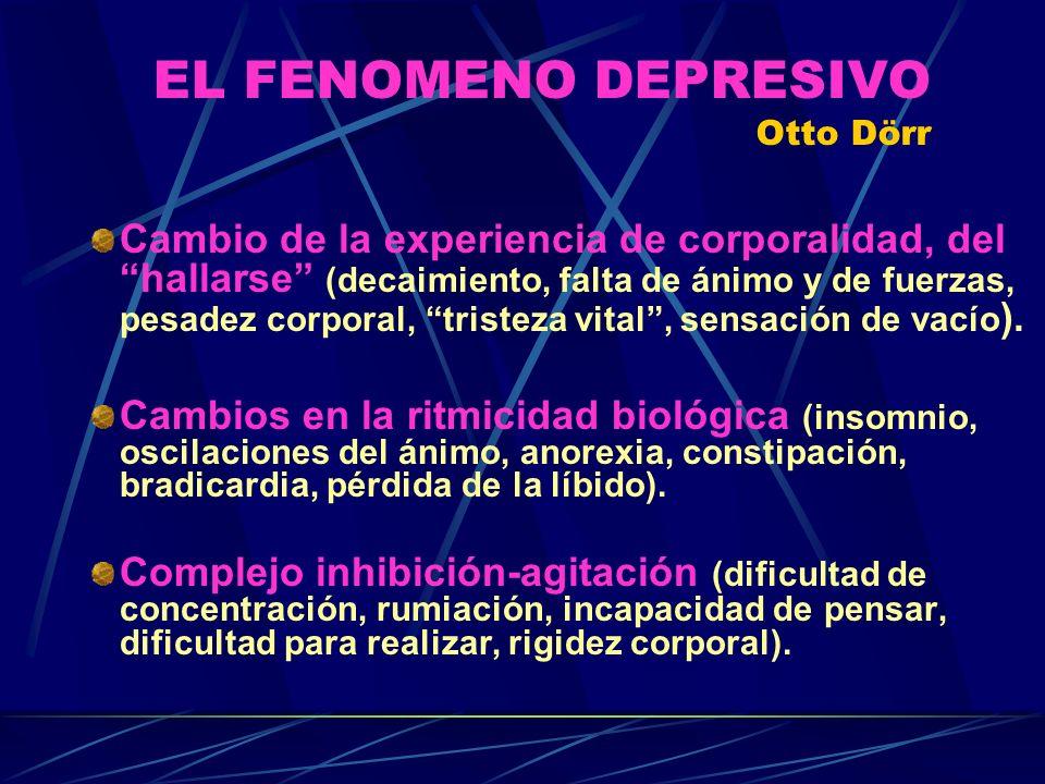 EL FENOMENO DEPRESIVO Otto Dörr Cambio de la experiencia de corporalidad, del hallarse (decaimiento, falta de ánimo y de fuerzas, pesadez corporal, tristeza vital, sensación de vacío ).