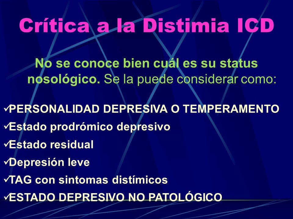 Atributos del Temperamento Depresivo (AKISKAL1983) Sombrío, desanimado, incapacidad para divertirse Autocrítico, autorreproches, culpógeno Preocupado por el fracaso, la inadecuación y pesimismo No asertivo, devoto Considera al sufrimiento como parte de su personalidad Escéptico, hipercrítico y quejoso SIN RASGOS VITALES SOMATICOS