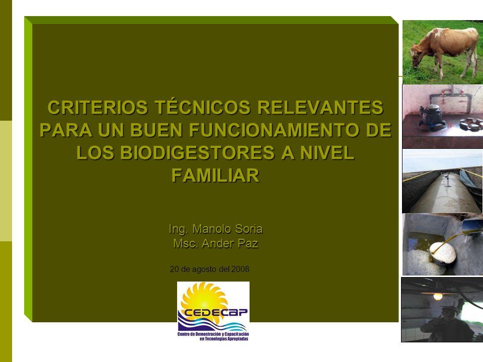 CRITERIOS TÉCNICOS RELEVANTES PARA UN BUEN FUNCIONAMIENTO DE LOS BIODIGESTORES A NIVEL FAMILIAR Ing. Manolo Soria Msc. Ander Paz 20 de agosto del 2008