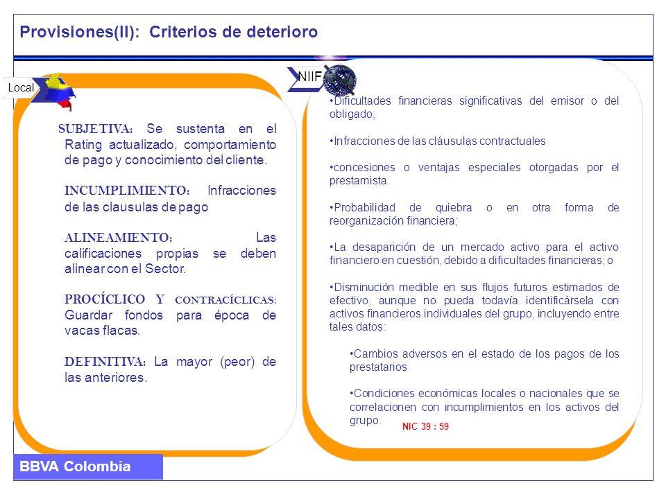 Provisiones(II): Criterios de deterioro SUBJETIVA: Se sustenta en el Rating actualizado, comportamiento de pago y conocimiento del cliente. INCUMPLIMI