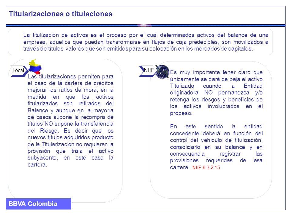 Titularizaciones o titulaciones Las titularizaciones permiten para el caso de la cartera de créditos mejorar los ratios de mora, en la medida en que l