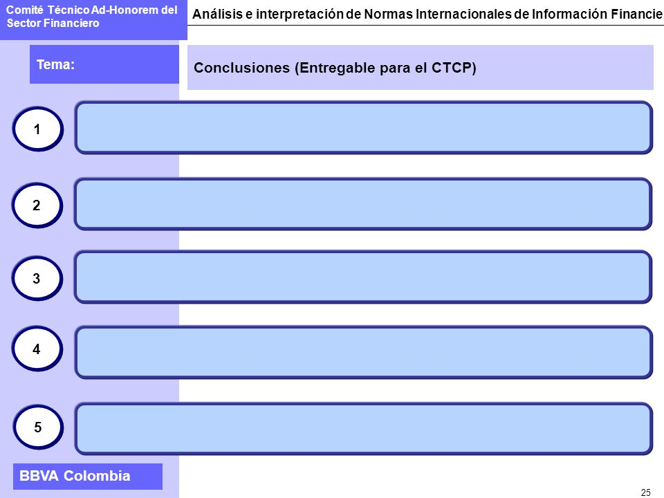 25 Conclusiones (Entregable para el CTCP) Tema: Comité Técnico Ad-Honorem del Sector Financiero Análisis e interpretación de Normas Internacionales de