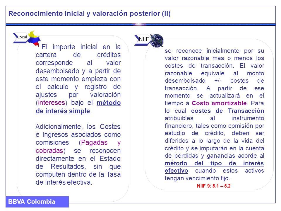 Reconocimiento inicial y valoración de la Inversión Crediticia (IV) BBVA Colombia