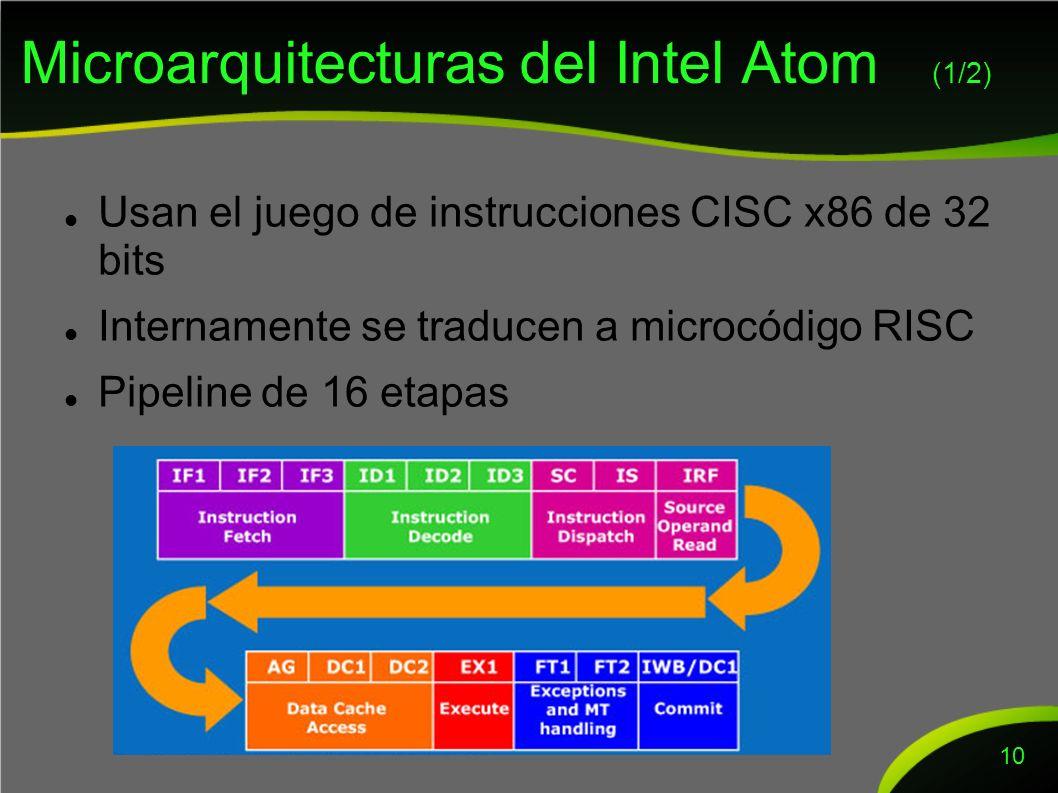 Microarquitecturas del Intel Atom (1/2) Usan el juego de instrucciones CISC x86 de 32 bits Internamente se traducen a microcódigo RISC Pipeline de 16 etapas 10